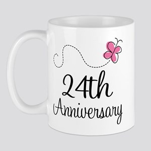 24th Anniversary Gift Butterfly Mug