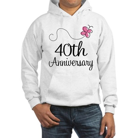 40th Anniversary Gift Butterfly Hooded Sweatshirt