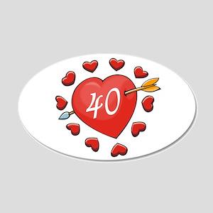 40th Valentine 22x14 Oval Wall Peel