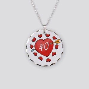40th Valentine Necklace Circle Charm