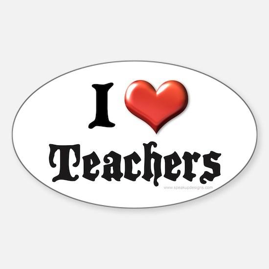 I Heart (Love) Teachers Oval Decal
