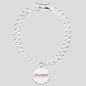 Yes They're Fake Breast Cancer Charm Bracelet, One