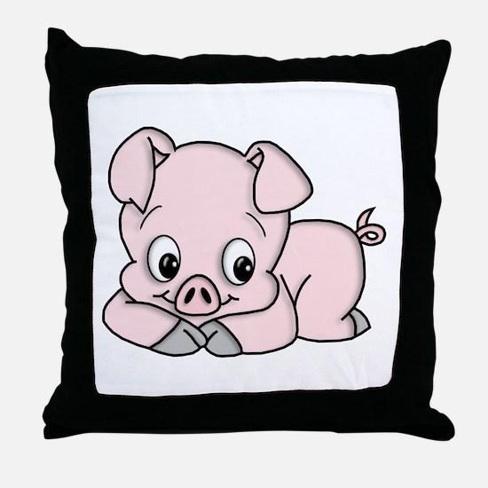 Cute Pink Pig Throw Pillow