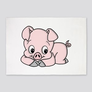 Cute Pink Pig 5'x7'Area Rug