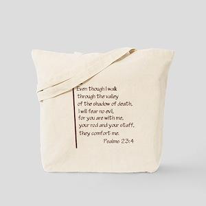 Psalms 23:4 Tote Bag