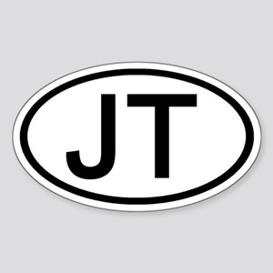 JT - Initial Oval Oval Sticker