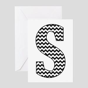 Black and White Chevron Letter S Monogram Greeting
