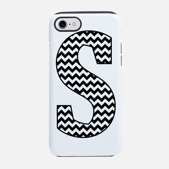 Black and White Chevron Letter S Monogram iPhone 7