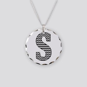 Black and White Chevron Letter S Monogram Necklace