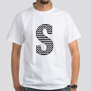 Black and White Chevron Letter S Monogram T-Shirt