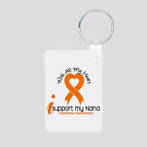 With All My Heart Leukemia Aluminum Photo Keychain