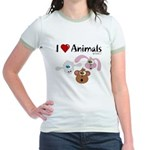I Love Animals - Jr. Ringer T-Shirt