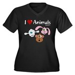 I Love Animals - Women's Plus Size V-Neck Dark T-S