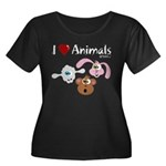 I Love Animals - Women's Plus Size Scoop Neck Dark