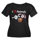 I Love Animals - Women's Plus Size Scoop Neck Dark