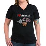 I Love Animals - Women's V-Neck Dark T-Shirt