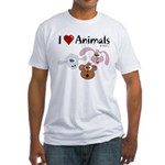 I Love Animals - Fitted T-Shirt