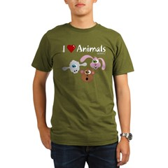 I Love Animals - Organic Men's T-Shirt (dark)
