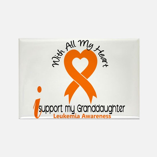 With All My Heart Leukemia Rectangle Magnet