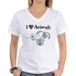 I Love Animals - Women's V-Neck T-Shirt