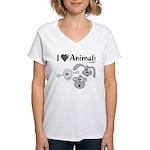 I Love Animals - Women's V-Neck T-Shirt