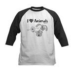 I Love Animals - Kids Baseball Jersey