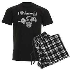 I Love Animals - Men's Dark Pajamas