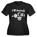 I Love Animals - Women's Plus Size V-Neck Dark T-S
