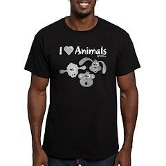 I Love Animals - Men's Fitted T-Shirt (dark)
