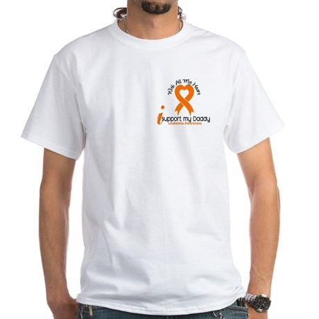 With All My Heart Leukemia White T-Shirt