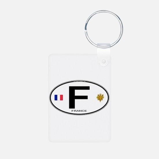 France Euro Oval Aluminum Photo Keychain