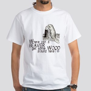 """Beaver/Wood"" White T-Shirt"
