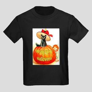 Halloween Cat With Hat Kids Dark T-Shirt