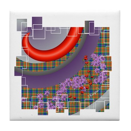 Abstract Plaid Tile Coaster