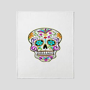 Day Of The Dead Skull 3 Throw Blanket
