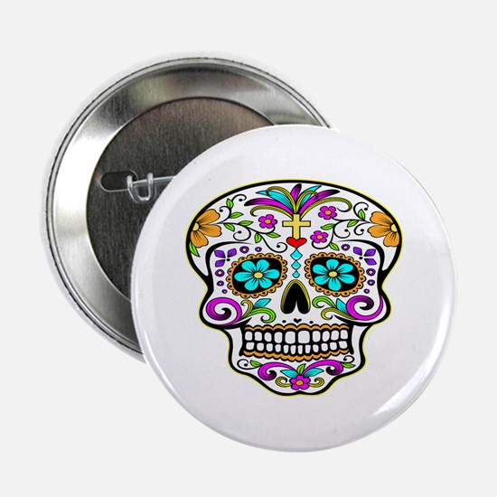 "Day Of The Dead Skull 3 2.25"" Button"