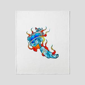 Flaming Tattoo Machine Throw Blanket