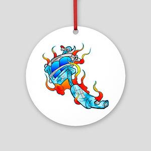Flaming Tattoo Machine Ornament (Round)