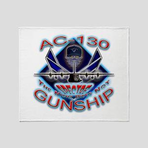 USAF AC-130 Gunship Skull Throw Blanket