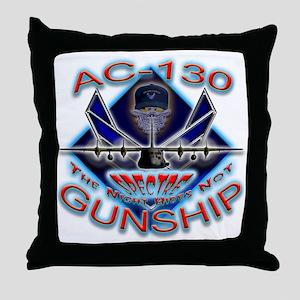 USAF AC-130 Gunship Skull Throw Pillow