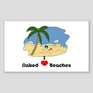 I Love Naked Beaches Sticker (Rectangle)
