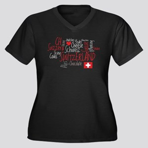 I Love Switzerland Women's Plus Size V-Neck Dark T