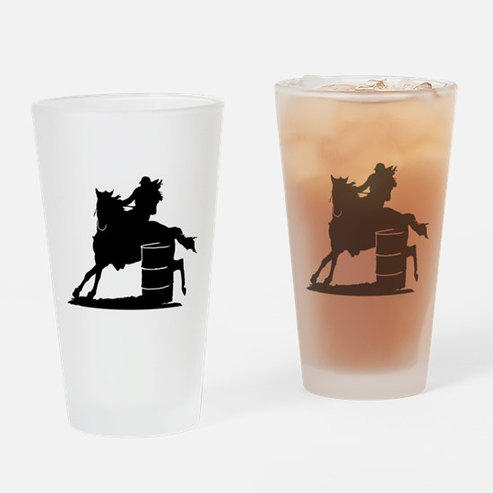 Barrel racing silhouette Drinking Glass
