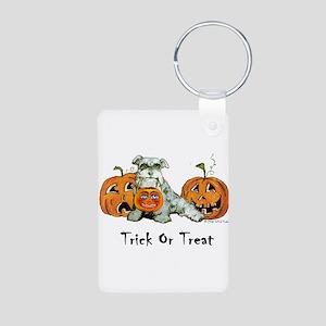 Spooky Schnauzer Halloween Tr Aluminum Photo Keych