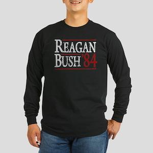 Reagan Bush 84 retro Long Sleeve Dark T-Shirt