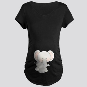 Cartoon Elephant Maternity Dark T-Shirt
