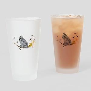 Schnauzer Halloween Tricks Drinking Glass