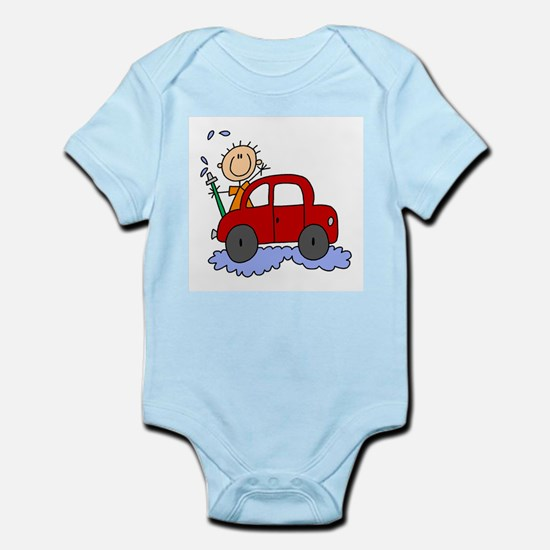 Stick Girl Washing Car Infant Bodysuit