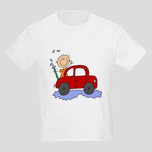 Stick Girl Washing Car Kids Light T-Shirt