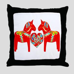 Swedish Dala Horses Throw Pillow